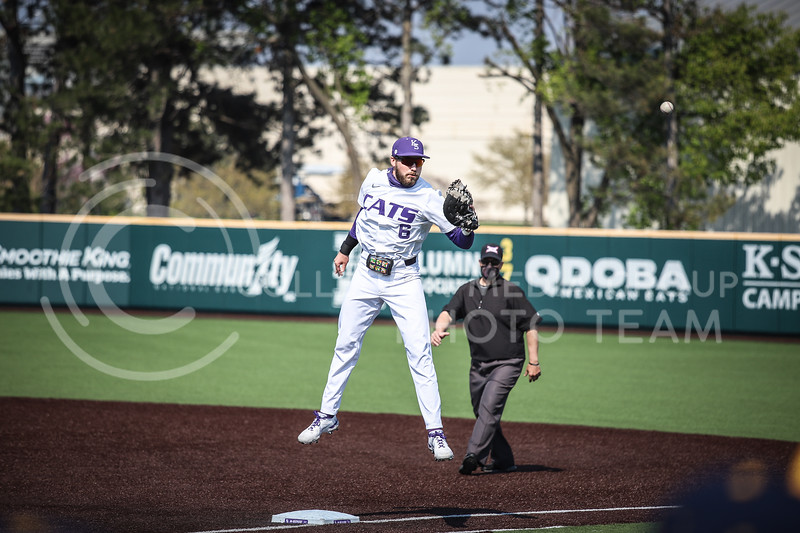 Junior Terrence Spurlin jumping for a high throw to first base on Saturday (April 24, 2021) game against Western Virginia at Toniton Stadium. <br /> Elizabeth Proctor Collegian Media Group