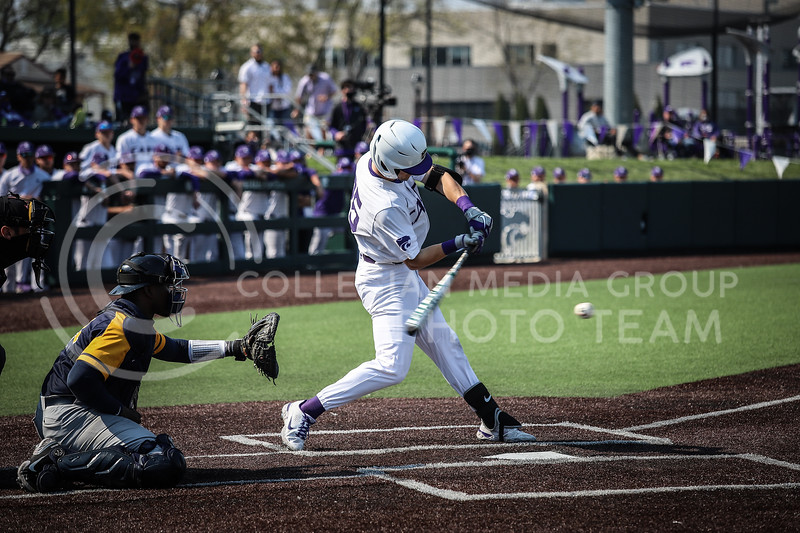 Freshman Nick Goodwin up to bat and swinging on Saturday (April 24, 2021) game against Western Virginia at Toniton Stadium. <br /> Elizabeth Proctor Collegian Media Group