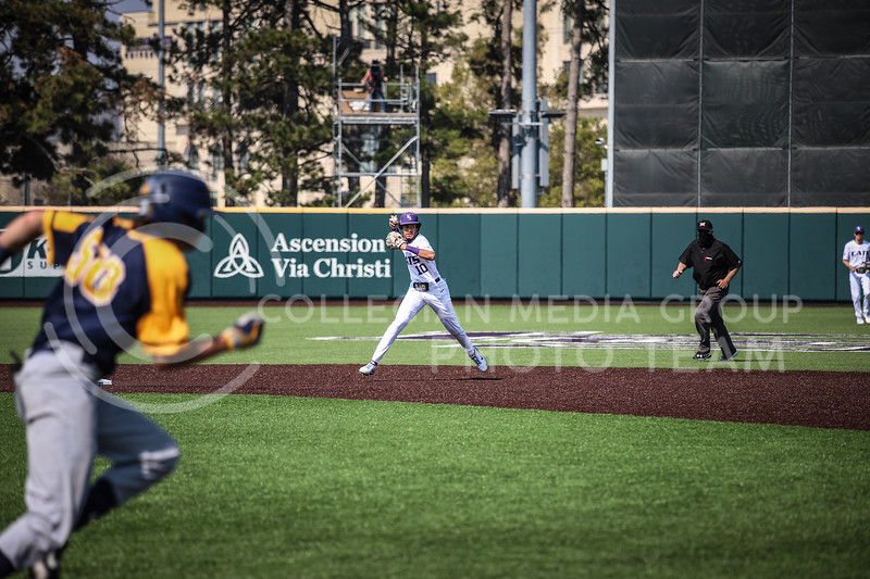 Redshirt Junior Kamron Willman assisting in a double playing throwing to first base on Saturday (April 24, 2021) game against Western Virginia at Toniton Stadium. <br /> Elizabeth Proctor Collegian Media Group