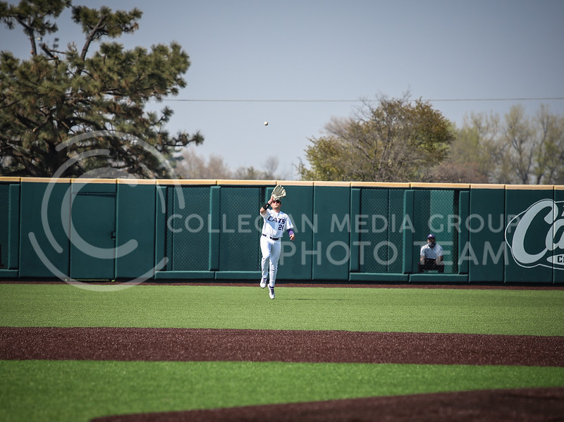 Sophomore Dylan Phillips catching a ball in the outfield to secure an out on Saturday (April 24, 2021) game against Western Virginia at Toniton Stadium. <br /> Elizabeth Proctor Collegian Media Group