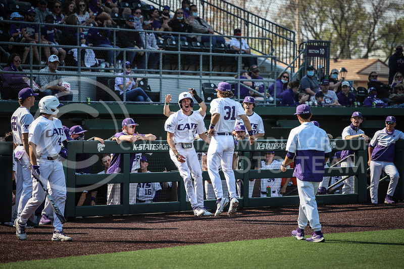 Senior Caleb Littlejim and Redshirt Junior Kaden Fowler celebrating after Caleb brought in another run for the Wildcats on Saturday (April 24, 2021) game against Western Virginia at Toniton Stadium. <br /> Elizabeth Proctor Collegian Media Group