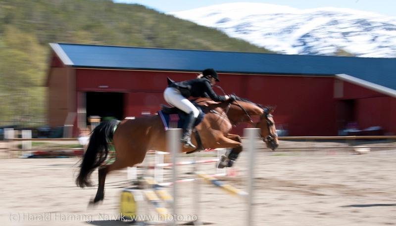 Konkurranse i sprangridning ved Narvik Rideskole i Skjomdalen, 2. juni 2012.