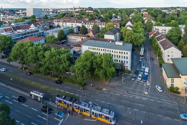 Richtung Nordosten von der Heidelberger Straße, Ecke Eschollbrücker Straße