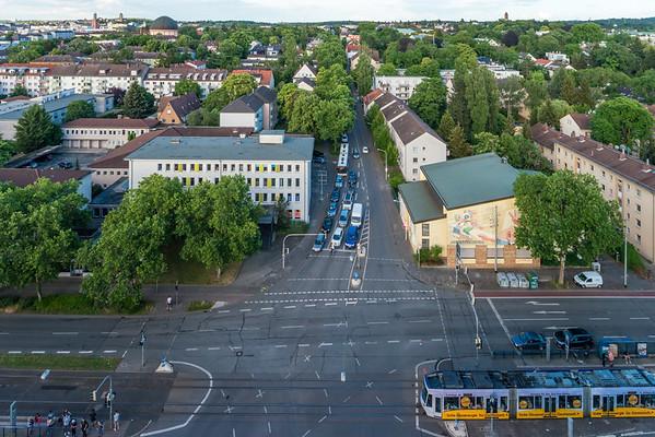 Richtung Osten von der Heidelberger Straße, Ecke Eschollbrücker Straße