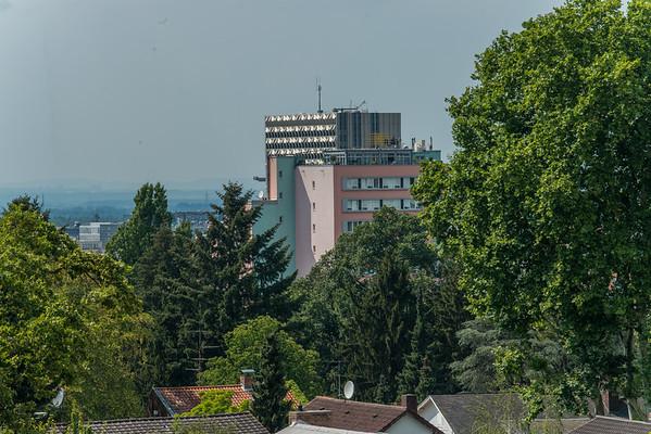 Ausblicke von der Dachterrasse der Schader-Stiftung, Darmstadt, Bessungen