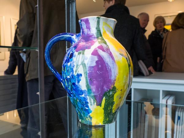 """Vernissage """"Klaus Fußmann - Obsession des Malerischen"""", Bilder, Aquarelle, Farblinolschnitte, bemalte Keramiken, Galerie Netuschil Darmstadt, 27. November 2016"""
