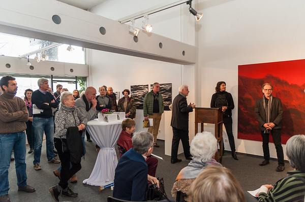 """Vernissage """"Strukturlandschaften: Sonja Weber - Gewebte Bilder und Dieter Kränzlein - Muschelkalk, Marmor, Acryl"""", Galerie Netuschil Darmstadt, 4. Februar 2018"""