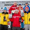 Fotograf: kristen-images.com / Michael Kristen // 29.01.2017 / Bobbahn Innsbruck-Igls / Rodeln / FIL Rennrodel WM 2017 / Rodel Austria / Kunstbahn / Siegerehrung / Preisverleihung / Herren / Bild: Roman Repilov (Platz 2 / RUS), Wolfgang Kindl (Platz 1 / AUT), Dominik Fischnaller (Platz 3 / ITA), Johannes Ludwig (Platz 4 / GER), Semen Pavlichenko (Platz 5 / RUS), Felix Loch (Platz 6 / GER)