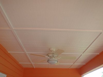 Ceiling of the back covered porch was painted white and really opens up the area