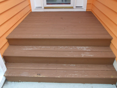 Porch steps to be prepped and painted/stained gray soon