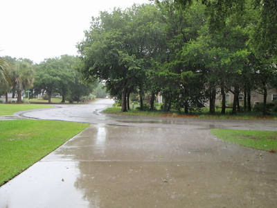 View of the driveway from inside the garage as Hurricane Arthur approaches on Thursday 07/03/14