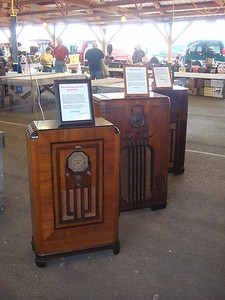 My console display, sold all these. Left to right Stromberg 68, Philco 37-116, RCA C11-1