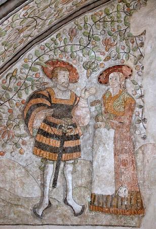Turun linnan vartioiden kamarin seinämaalaus esittää rakastavaisia / Wall painting of lovers in Turku Castle