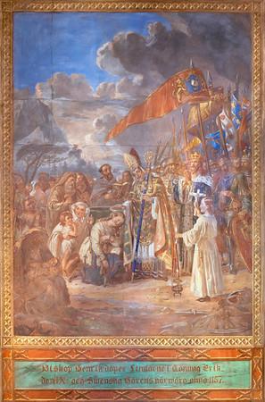 Piispa Henrik Kupittaan lähteellä vuonna 1155, Turun tuomiokirkko / Bishop Henrik baptizing people at Kupittaa well in 1155, painting in Turku Cathedral