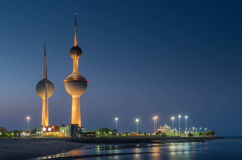 Kuwait towers in blue hours