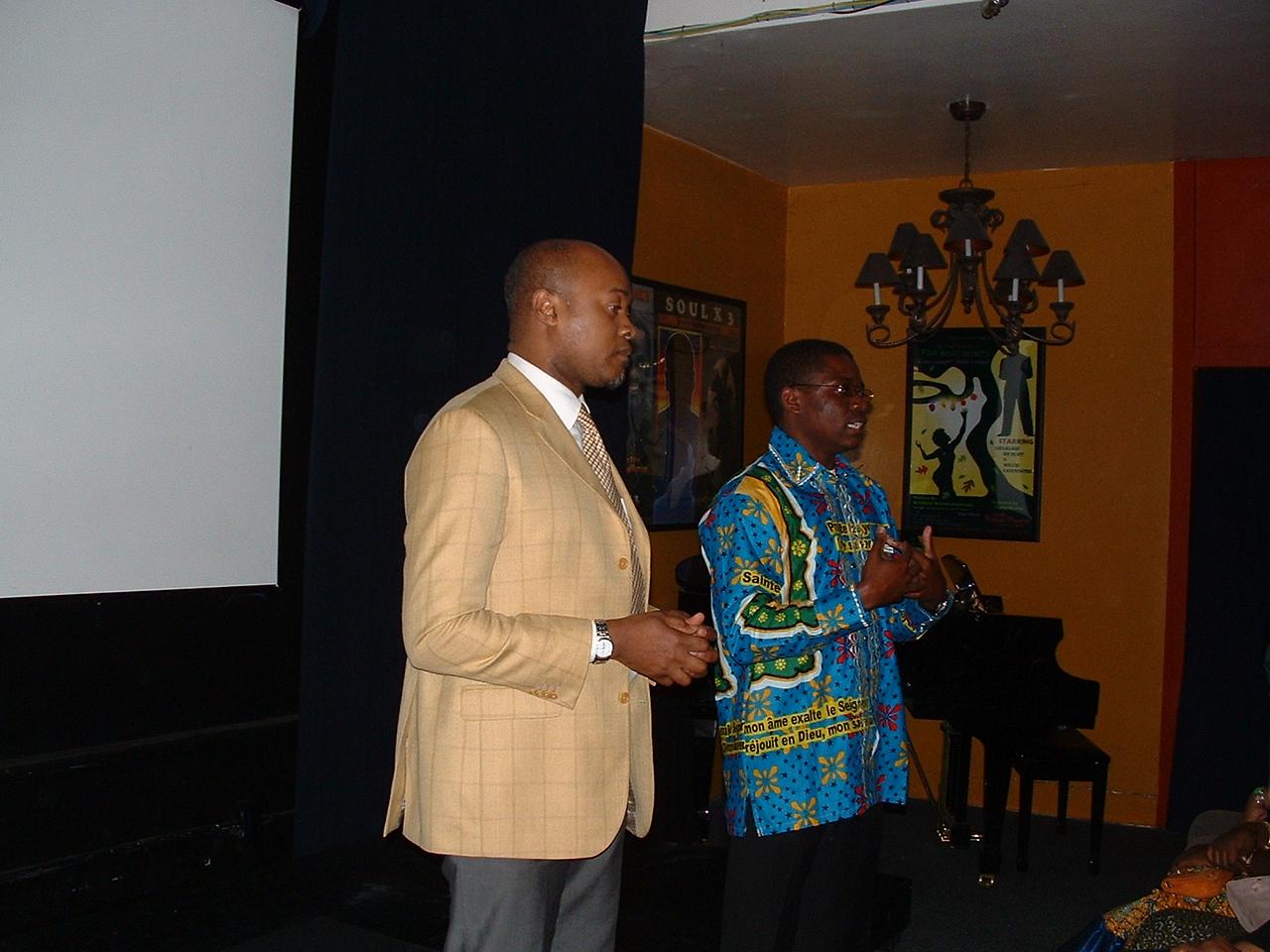 Guy Patrice Lumumba addresses gathering with help of interpreter