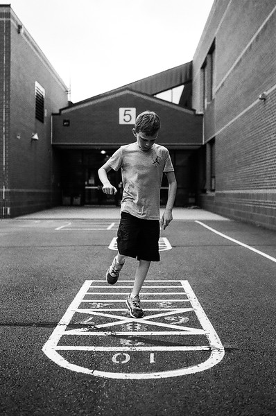 A little afternoon hopscotch. Aug 2016. Kodak Tri-X.