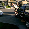 Screenshot from video of Kyle jumping off my truck.