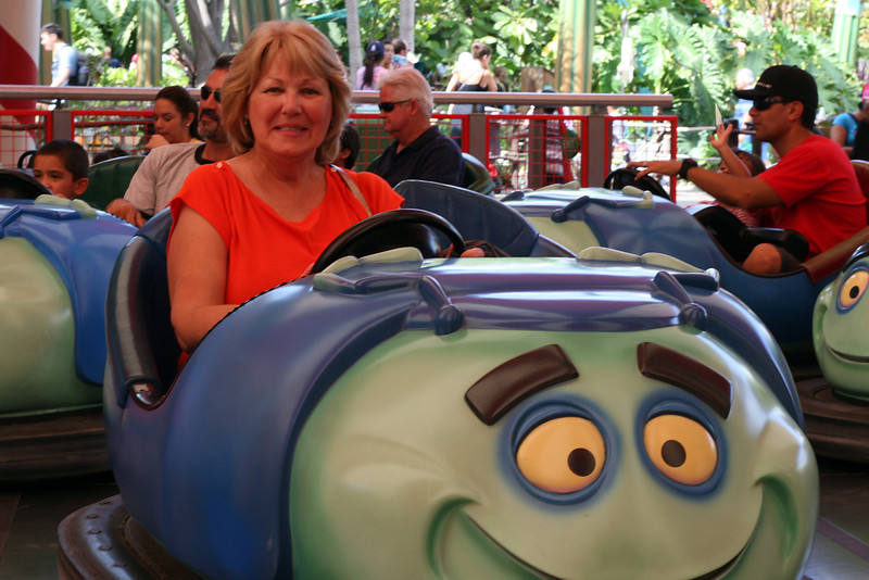 Grammy on the bumper cars.