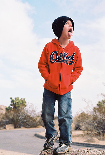 Attempting to catch snowflakes on his tongue while camping at Jumbo Rocks, Joshua Tree National Park, Feb 2013.