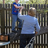 Grammy helping Kyle climb a tree at the Nature Center, San Angelo, Tx.