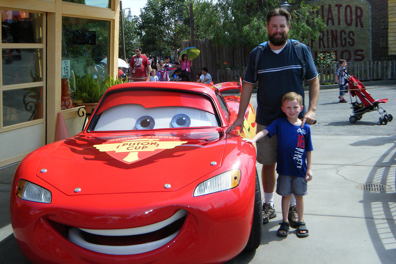 Kyle, Grammy and I took a day trip to Disney California Adventure (Sept 12). Had an amazing time, but it was HOT, HOT HOT! Spent a lot of time in the new Cars Land as Kyle loves the movies. <br /> <br /> Us with Lightning McQueen.