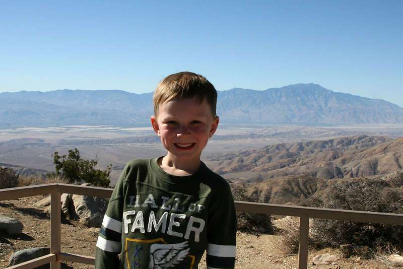 Kyle overlooking the Coachella Valley in Southern California. The lookout is called Keys View. The mountain in the back right is Mount San Jacinto, where we usually camp. The small hills/mountains in the bottom of the valley is actually the San Andreas Fault!