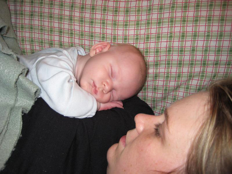 One of his favorite things to do....sleep on Mom.