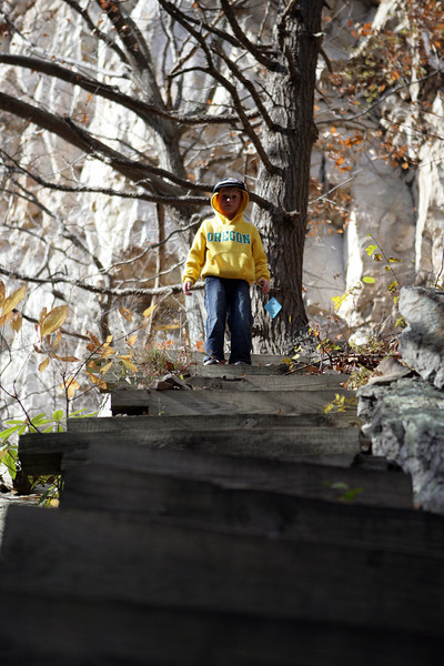 Navigating the crazy stairs at the base of Seneca Rocks, West Virginia. Nov 2013.