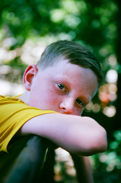 Taking a break in the shade, Occoquan, Virginia. Aug 2016. Kodak Portra.