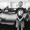 Exploring the Lamborghini/McLaren dealership, Sterling, Virginia. The Aventador was his favorite! Aug 2016. Kodak Tri-X.