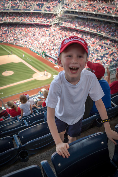 The Nationals had just scored their 4th run! He was pretty excited! Digital, June 2014.