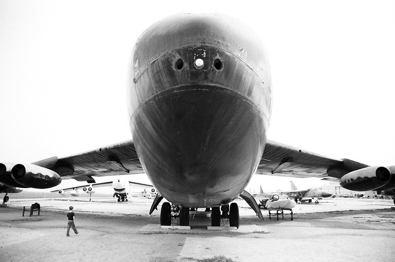 Kyle checking out the B-52 at the March ARB Museum. Taken with Ilford Delta 400. Mar 2013.