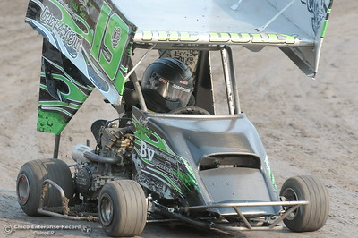 Brody Armtrout drives the #19 kart during the Third Annual Kyle Larson Outlaw Kart Showcase at Cycleland Speedway Monday Sept. 4, 2017. (Bill Husa -- Enterprise-Record)