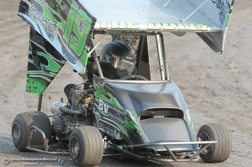 . Brody Armtrout drives the #19 kart during the Third Annual Kyle Larson Outlaw Kart Showcase at Cycleland Speedway Monday Sept. 4, 2017. (Bill Husa -- Enterprise-Record)