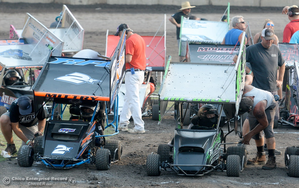 . As racers battle during the Third Annual Kyle Larson Outlaw Kart Showcase at Cycleland Speedway Monday Sept. 4, 2017. (Bill Husa -- Enterprise-Record)
