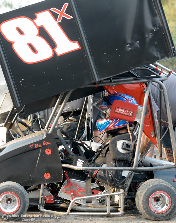 . Jayden Bartlett of Yuba City waits his turn in the #81X kart during the Third Annual Kyle Larson Outlaw Kart Showcase at Cycleland Speedway Monday Sept. 4, 2017. (Bill Husa -- Enterprise-Record)