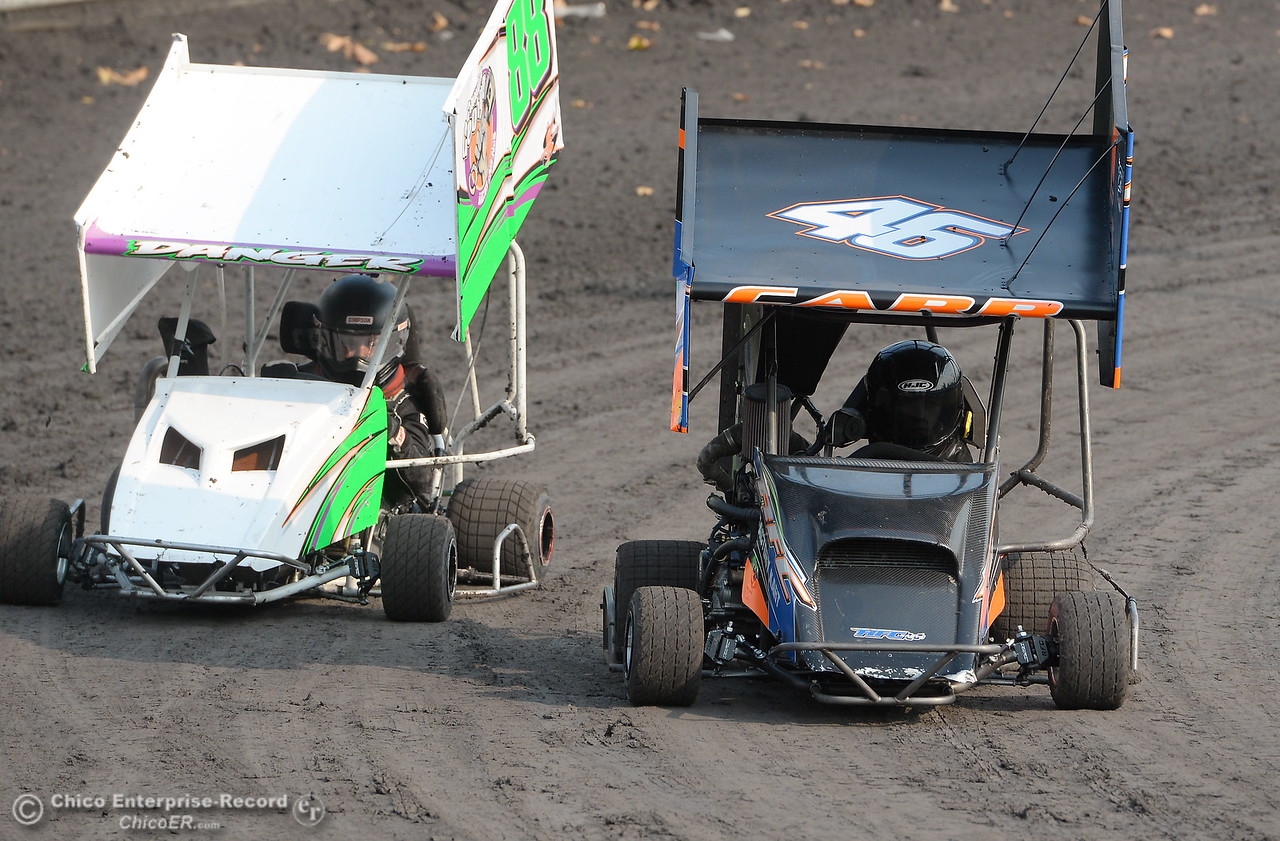 As racers battle during the Third Annual Kyle Larson Outlaw Kart Showcase at Cycleland Speedway Monday Sept. 4, 2017. (Bill Husa -- Enterprise-Record)