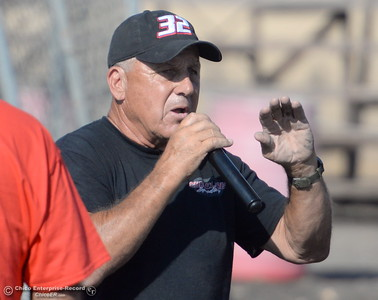 Lowell Mourall talks to drivers at the pre-race drivers meeting during the Kyle Larson Outlaw Kart Showcase at Cycleland Speedway in Oroville, Calif. Tues. Sept. 4, 2018.  (Bill Husa -- Enterprise-Record)