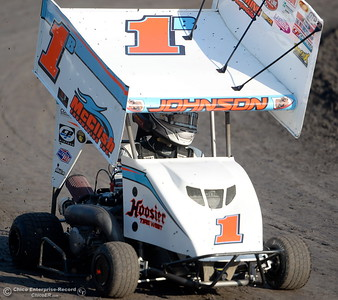 Kalib Henry drives the 1B car during hot laps at the Kyle Larson Outlaw Kart Showcase at Cycleland Speedway in Oroville, Calif. Tues. Sept. 4, 2018.  (Bill Husa -- Enterprise-Record)