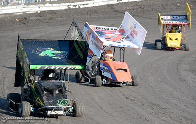 during hot laps at the Kyle Larson Outlaw Kart Showcase at Cycleland Speedway in Oroville, Calif. Tues. Sept. 4, 2018.  (Bill Husa -- Enterprise-Record)