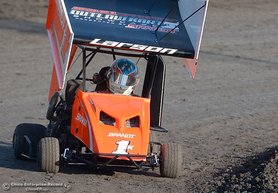 Kyle Larson drives the 1K kart during hot laps at the Kyle Larson Outlaw Kart Showcase at Cycleland Speedway in Oroville, Calif. Tues. Sept. 4, 2018.  (Bill Husa -- Enterprise-Record)