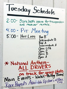 The schedule is seen on a white board during the Kyle Larson Outlaw Kart Showcase at Cycleland Speedway in Oroville, Calif. Tues. Sept. 4, 2018.  (Bill Husa -- Enterprise-Record)