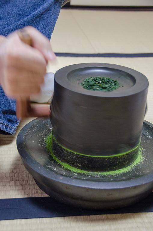 Tea grinding workshop at Nakamura Tokichi Honten, Uji, Japan