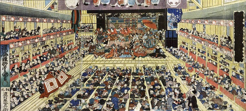 A kabuki theater in Edo in 1858 depicted in a ukiyo-e woodblock print by Utagawa Toyokuni III image Public Domain