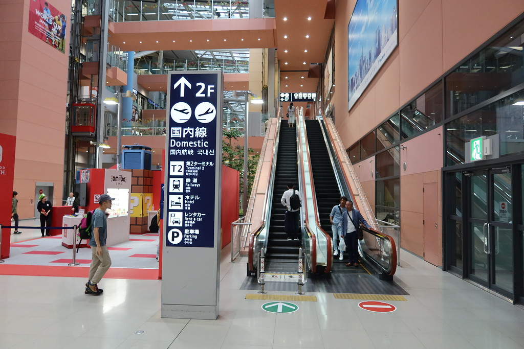 Escalators to 2F and train station