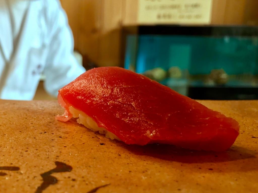 A moderately lean cut of bluefin tuna.