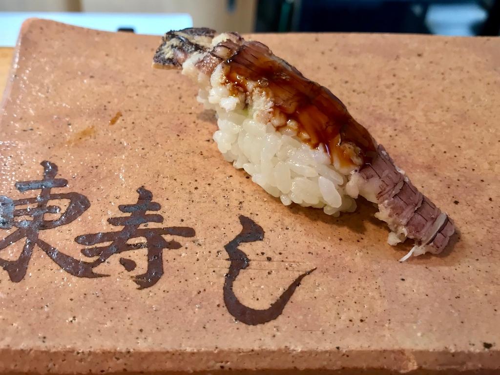 Mantis shrimp nigiri.