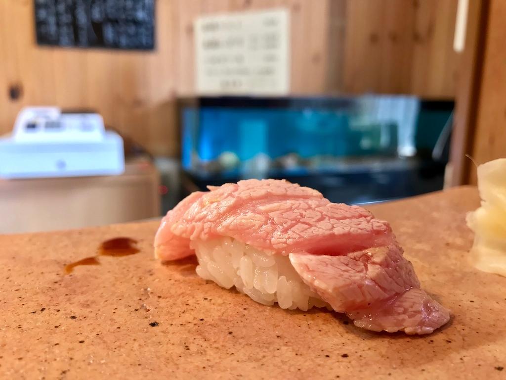 Toro aburi – fatty tuna, briefly torched.