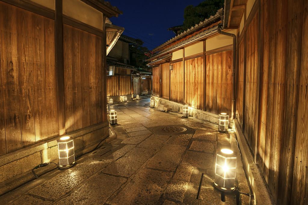 Ishibei-koji Lane in the evening. Editorial credit: Nishitap / Shutterstock.com